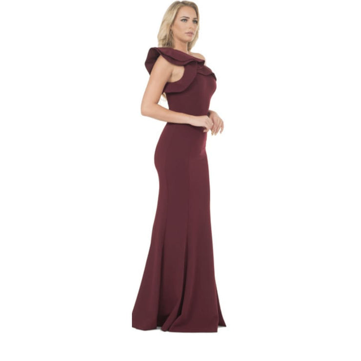 POSH Couture - Merlot One Shoulder Ruffle Sleeve Gown - Dress - 1735L-1