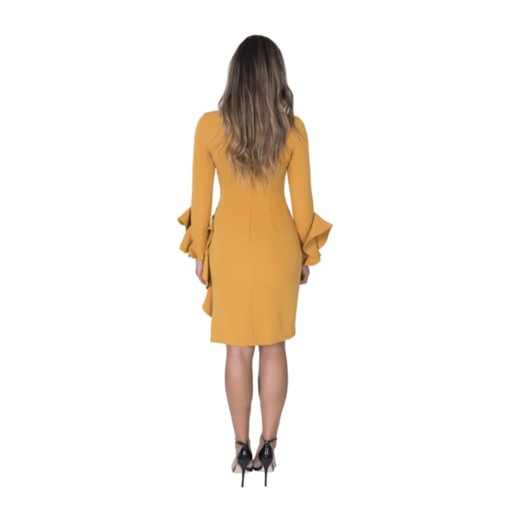 POSH Couture - Mustard Long Sleeve Dress with Ruffle Details - Dress - 1535-1