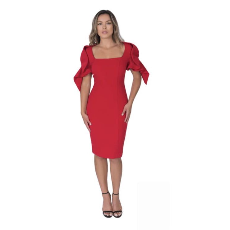 POSH Couture - Red Dress with Short Pinched Ruffle Sleeves - Dress - 1560-1