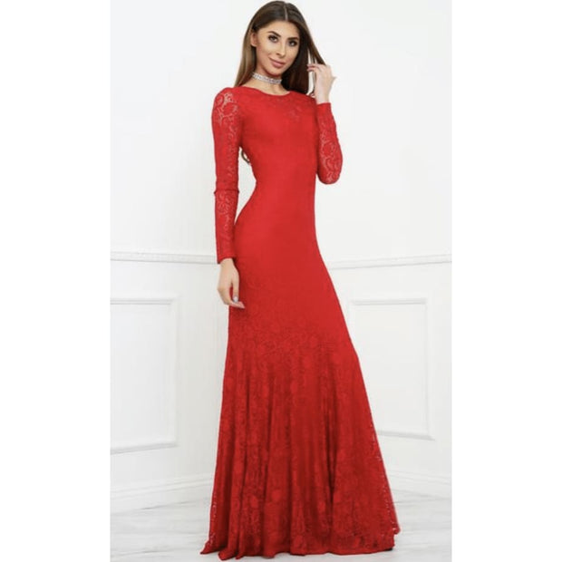 POSH Couture - Red Italian Lace Gown - Dress - 1026-1