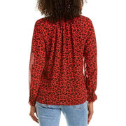 SEN - LINNETT Black and Red Leopard Blouse by SEN - Tops