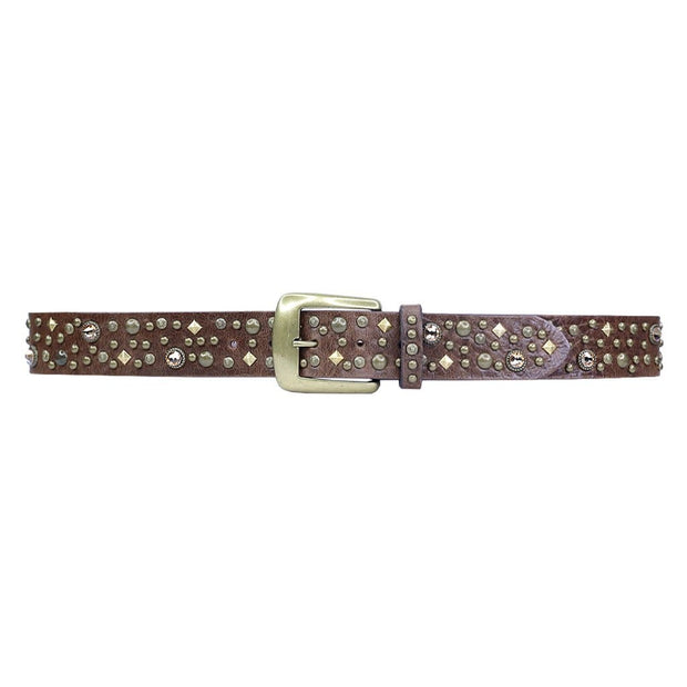 Streets Ahead - Brass Studded/Stones Chocolate Belt - Accessories