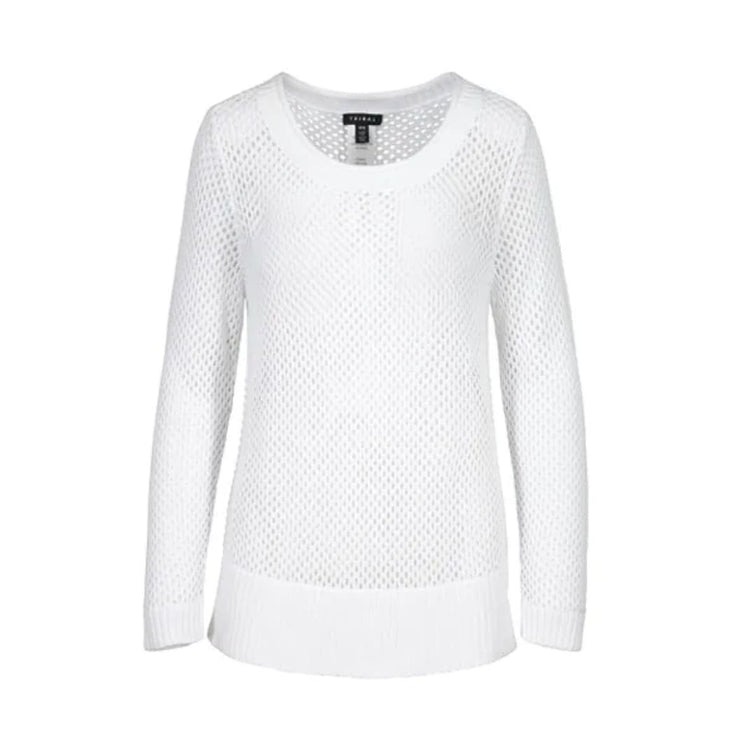 Tribal - 45480 White Open Stitch Sweater - Sweater