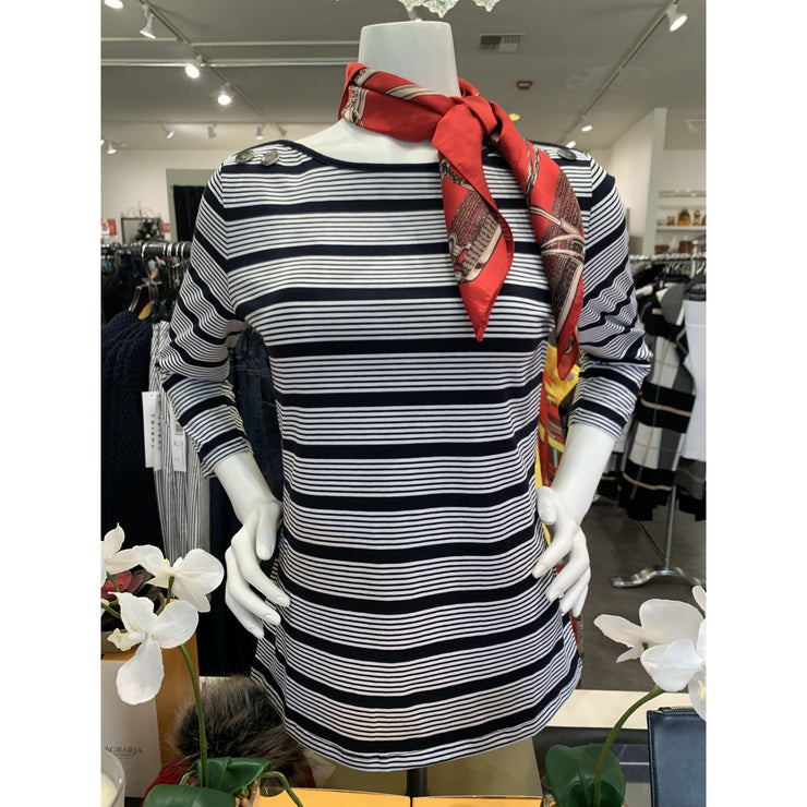 Tribal - 45580 Navy Striped Boat Neck Shirt with Buttons - Shirt