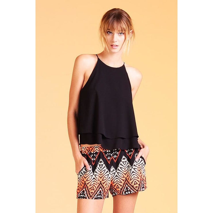 Tyche - Double Layer Flounce Tank - Women - T2331black