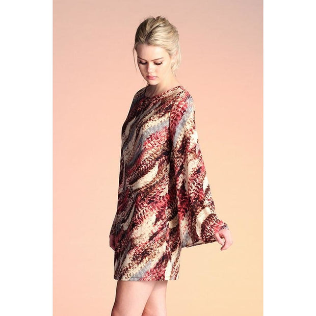Tyche - Multi Color Flare Sleeve Tunic Dress - Women - 3108burgundytunic