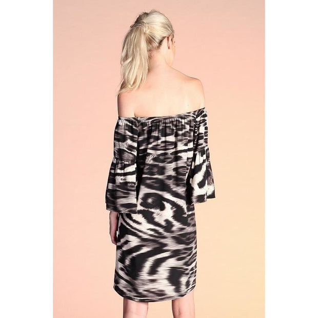 Tyche - Off Shoulder Animal Print Dress - Women - 3063