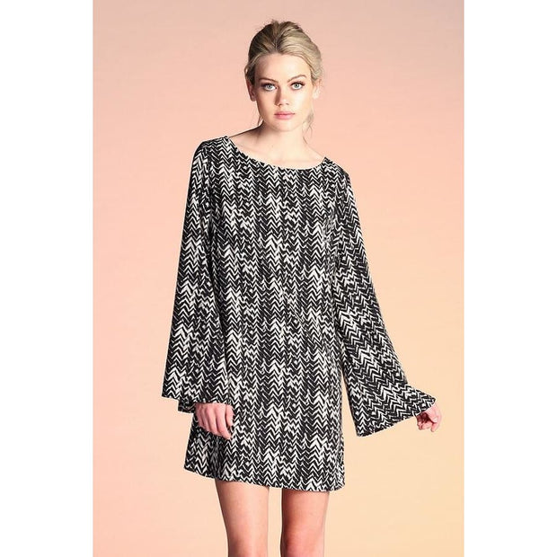 Tyche - Textured Zig Zag Flare Sleeve Dress - Women - 3086chevrontunic
