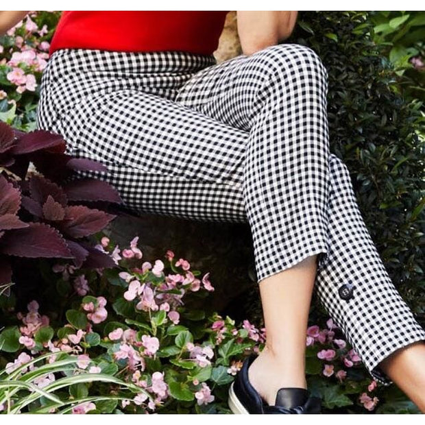 Up! Pants - Gingham Black & White Pants - Women - 66241up