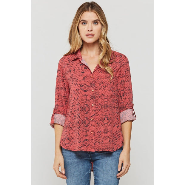 Velvet Heart - Velvet Heart Red Mixed Snake Chevron Blouse - Top - 3AI-20619
