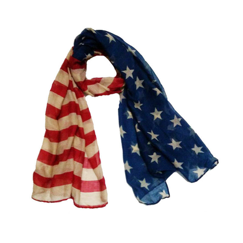 Soft Infiniti Patriotic USA American Flag Theme Scarf Wrap