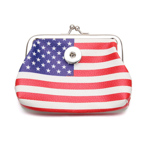 US Flag Leather Coin Purse