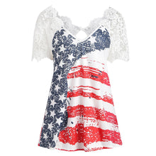 Women's Summer Lace American Flag Print Lace Tank Top
