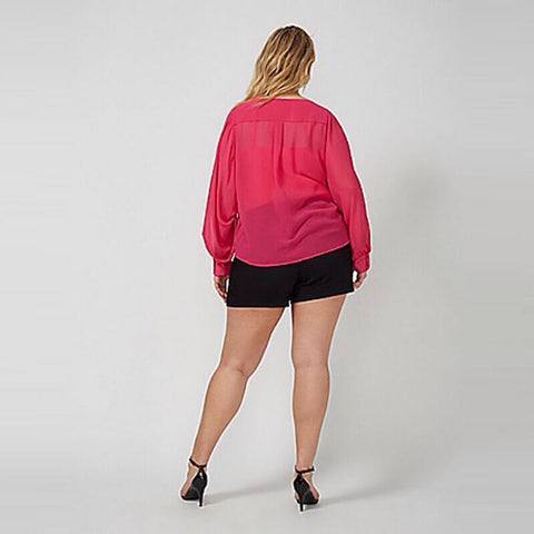 V Neck Long Blouson Sleeves Top