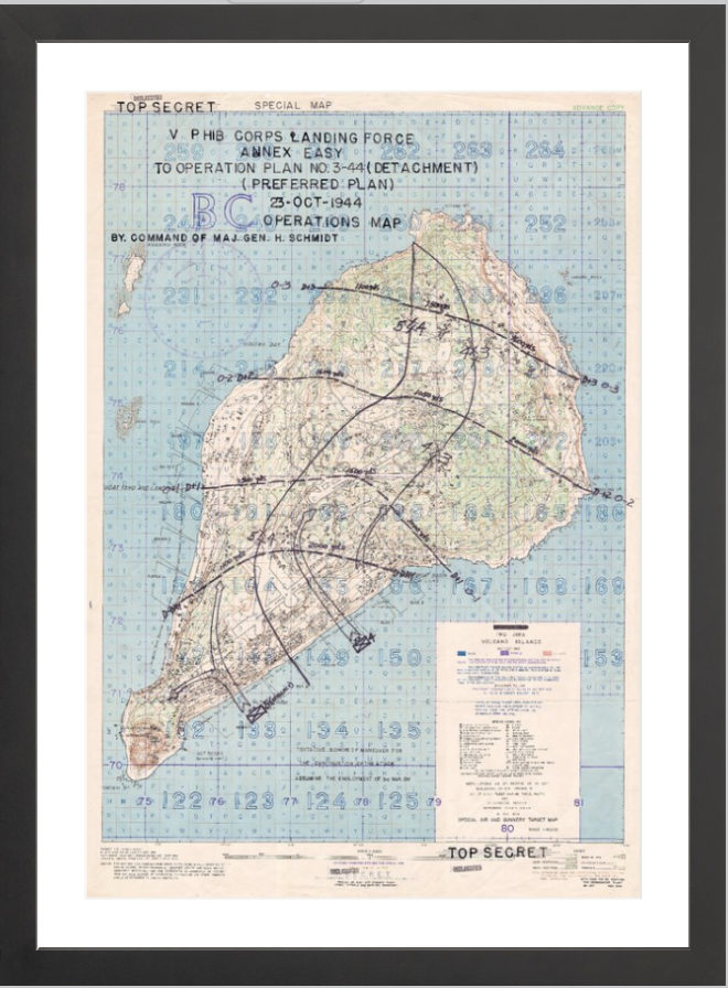 Battle Archives Map 16x23.3, Framed-Black Iwo Jima Assault Plan Battle Map