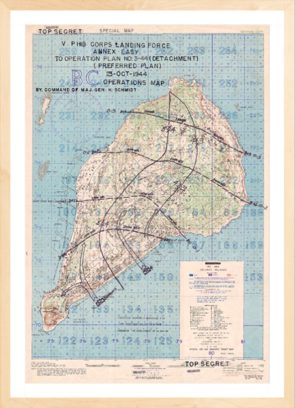 Battle Archives Map 16x23.3, Framed-Light Iwo Jima Assault Plan Battle Map