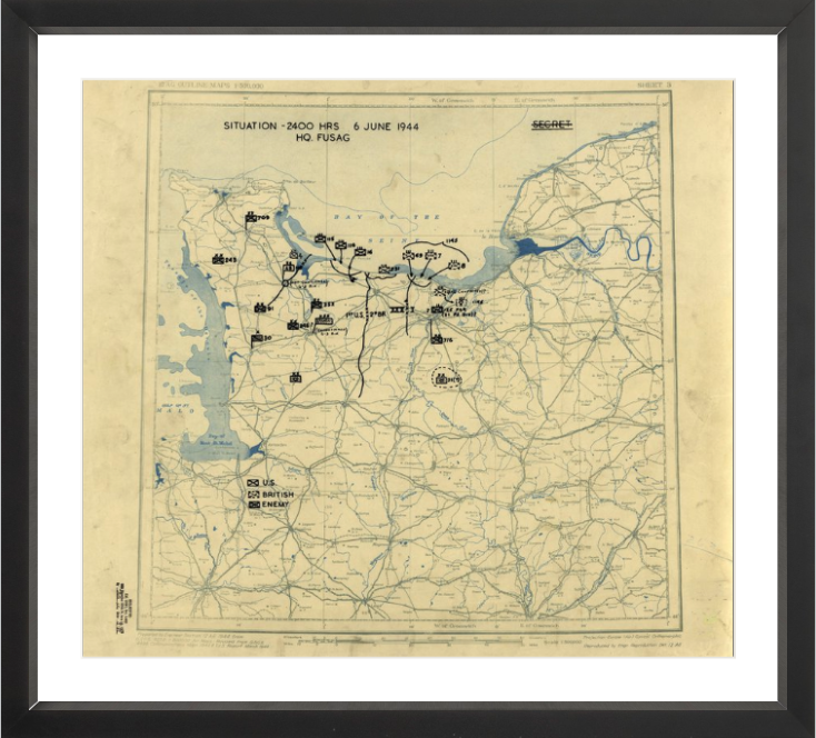 Battle Archives Map 17.7x16, Framed-Black Normandy D-Day Assault Battle Map