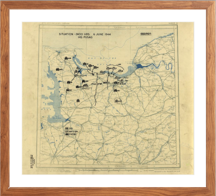 Battle Archives Map 17.7x16, Framed-Walnut Brown Normandy D-Day Assault Battle Map