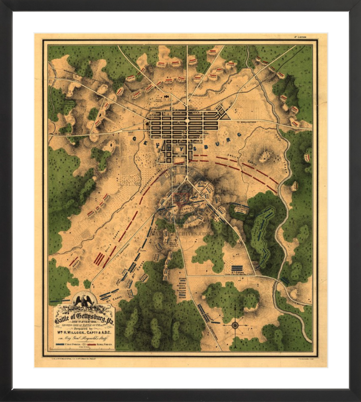 Battle Archives Map 17.9x20.5, Framed-Black Gettysburg Color Battle Map of 2 July