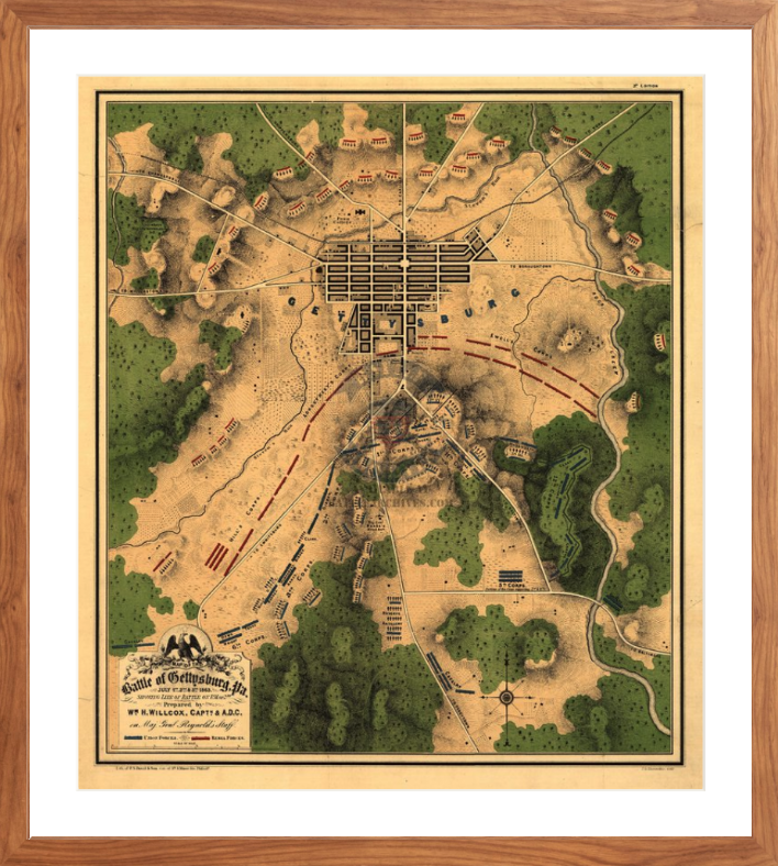 Battle Archives Map 17.9x20.5, Framed-Walnut Brown Gettysburg Color Battle Map of 2 July