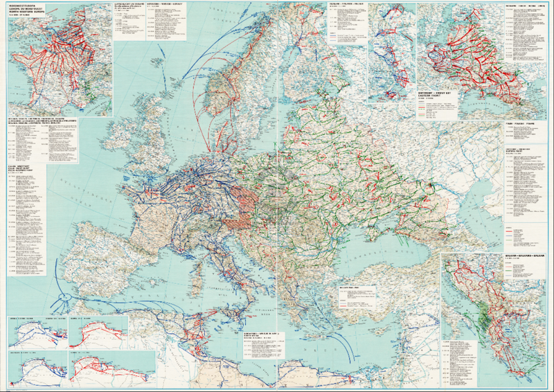 Battle Archives Map 28x20 European Theater of Operations 1939-1945