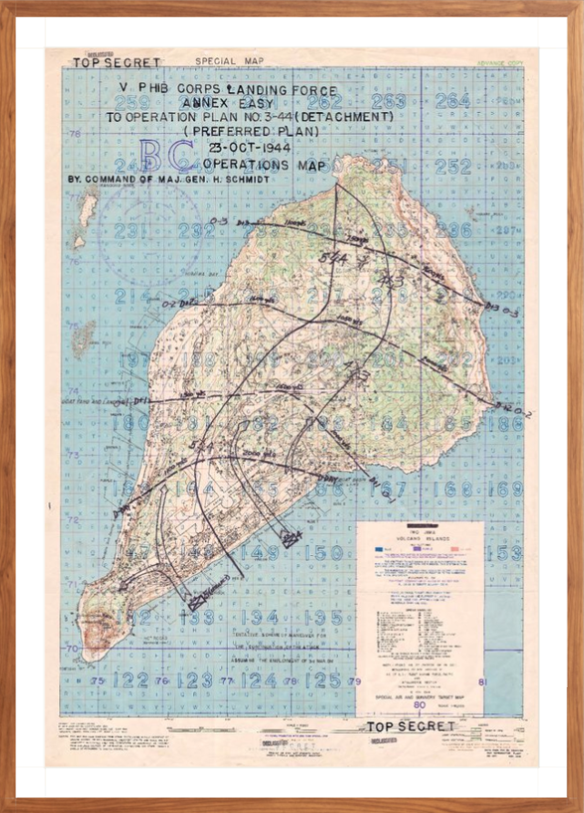 Battle Archives Map 28x40.7, Framed-Walnut Brown (original size) Iwo Jima Assault Plan Battle Map
