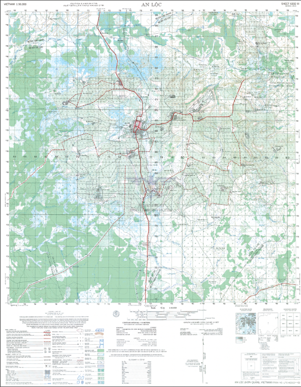 Battle Archives Map An Loc 1:50,000 Topographical Map