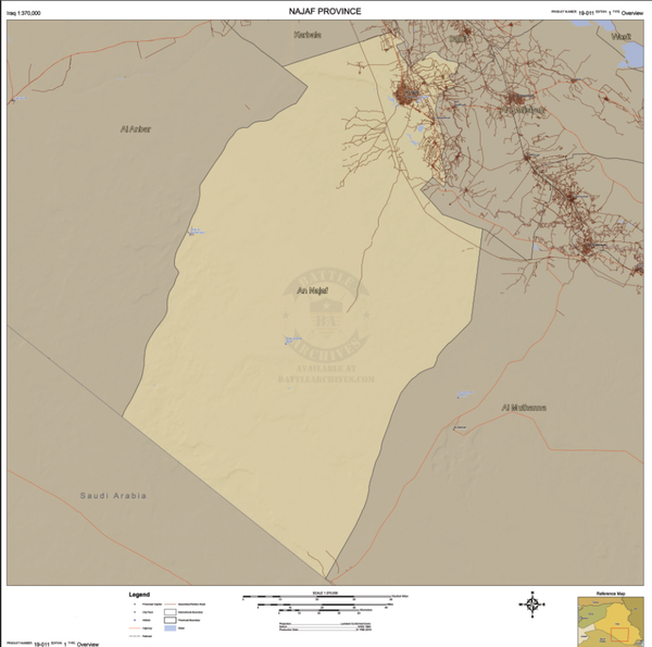 Battle Archives Map An Najaf Province, Iraq Topographical Map