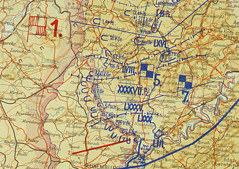 Battle Archives Map Ardennes Counteroffensive (Battle of the Bulge) German Front Lines Battle Map