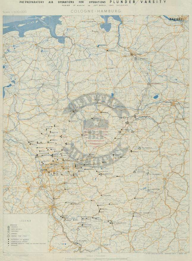 Battle Archives Map Army Air Corps #1-March 1945 Attacks