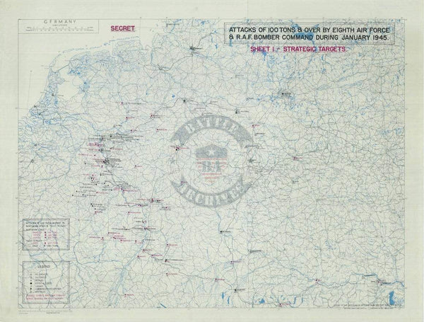Battle Archives Map Army Air Corps #2-January 1945 Attacks of 100+ Tons