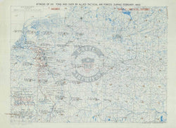 Battle Archives Map Army Air Corps #3-February 1945 Attacks of 25+ Tons