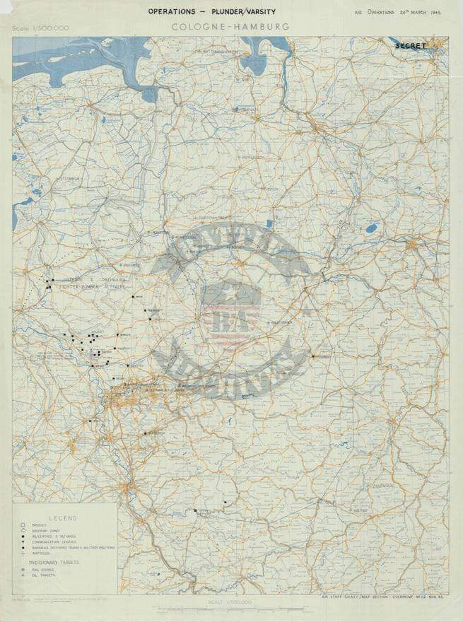 Battle Archives Map Army Air Corps #4-Attacks on 24 March 1945