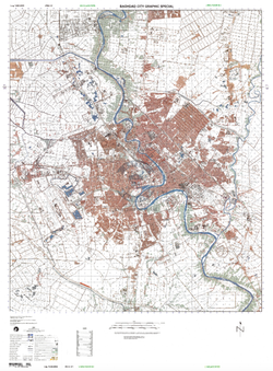 Baghdad, Iraq 1:50k City Topographical Map – Battle Archives