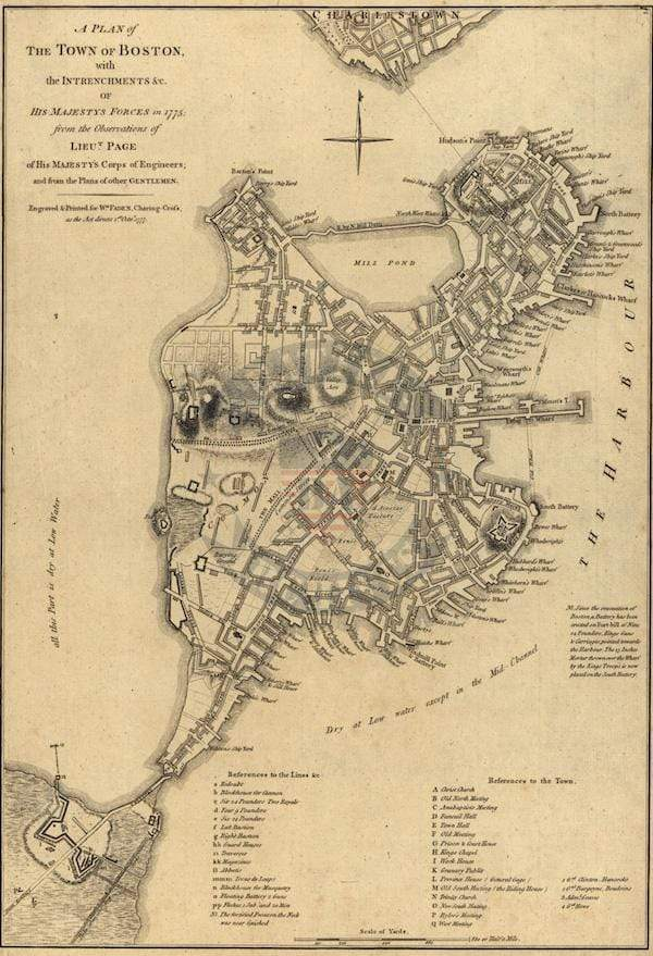 Boston City Map in 1775