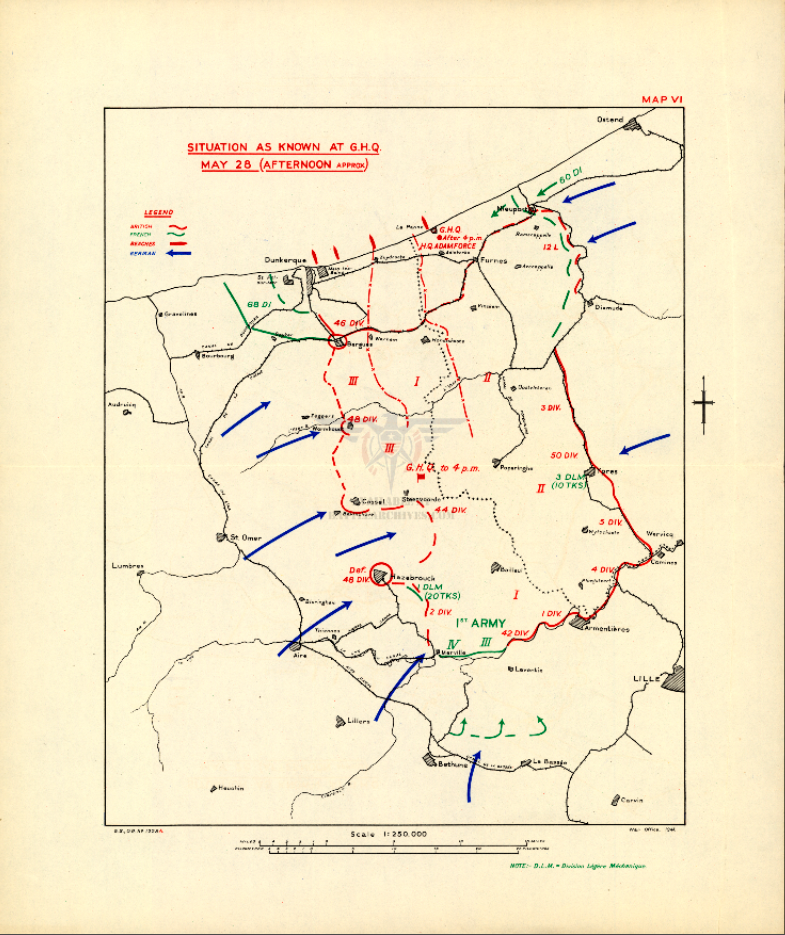 Battle Archives Map Dunkirk 28 May 1940 Battle Map