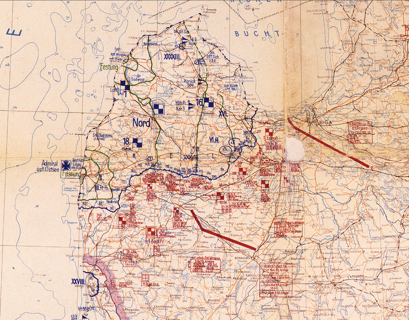Battle Archives Map Eastern Front 1945 with Courland Pocket German Battle Map