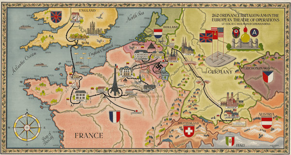 Battle Archives Map European Campaign, 262 Ordnance Battalion