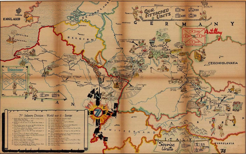 Battle Archives Map European Campaign, 71st Infantry Division