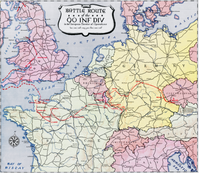 Battle Archives Map European Campaign, 90th Infantry Division