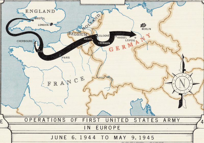 Battle Archives Map European Campaign, First US Army