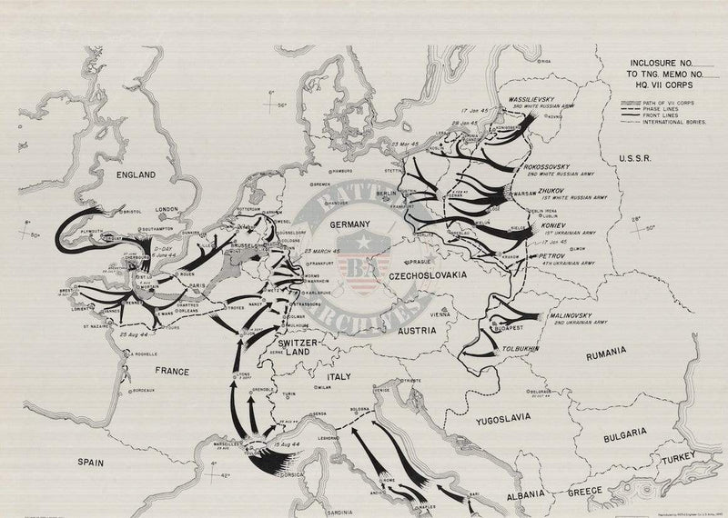 Battle Archives Map European Theater of Operations 1944-1945