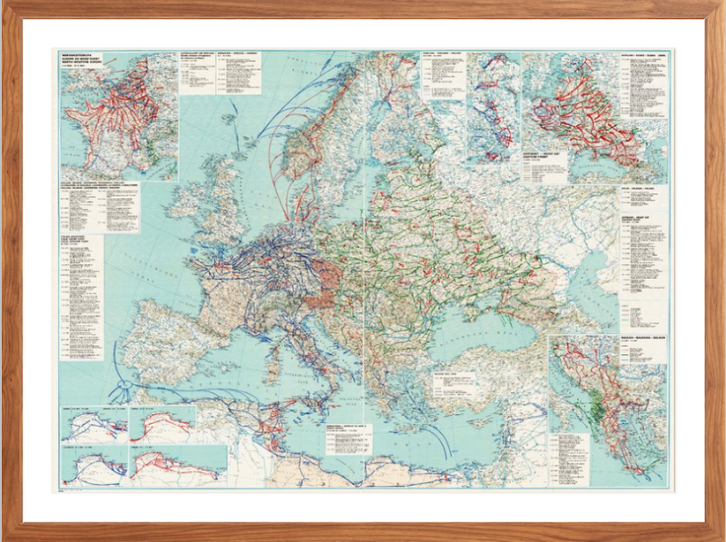 Battle Archives Map European Theater of Operations Map from 1939-1945