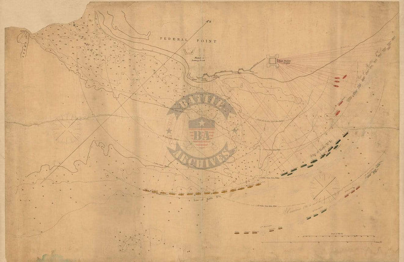 Battle Archives Map Fort Fisher, North Carolina #2