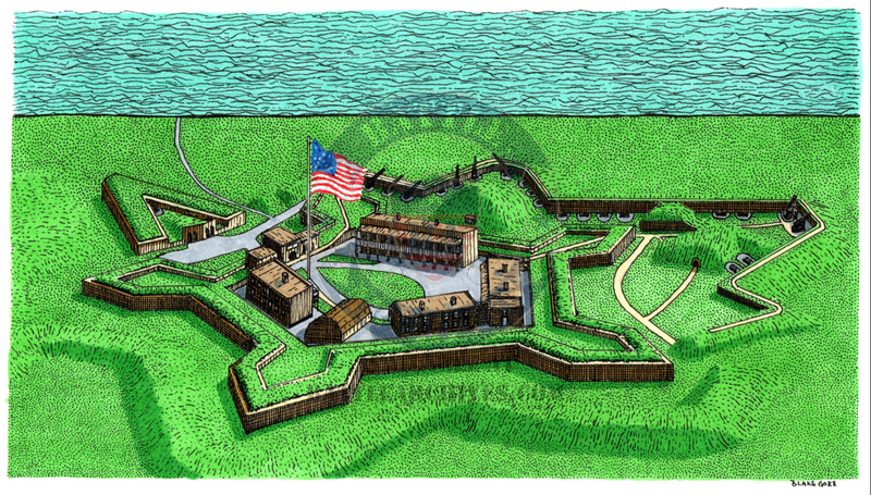 Battle Archives Map Fort McHenry, Maryland High Detail Drawing