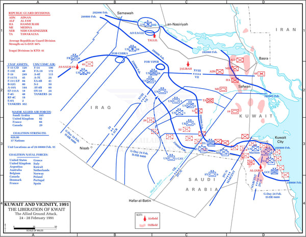 Battle Archives Map Gulf War 1991 Land Operations Battle Map