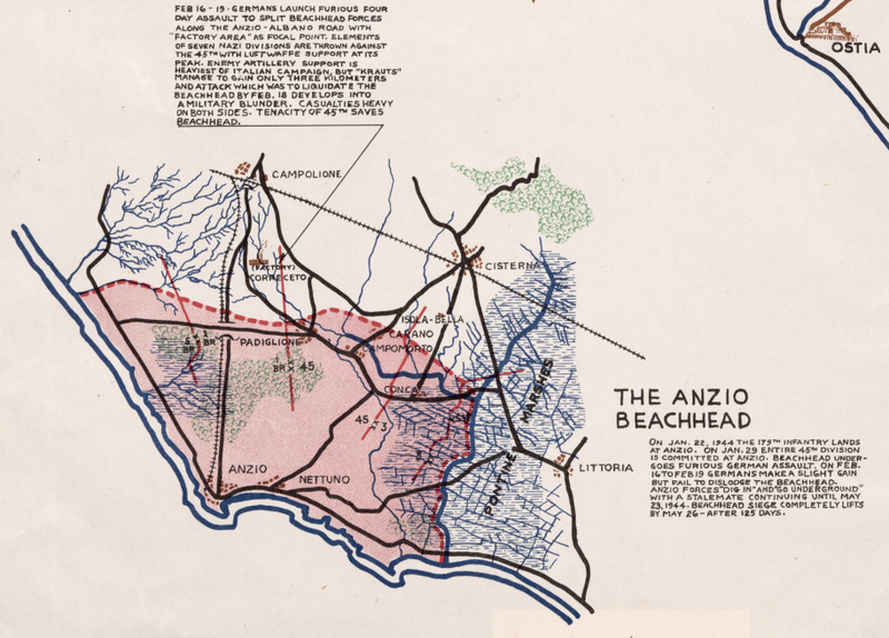 Battle Archives Map Italian Campaign, 45th Infantry Division #2 (Anzio)