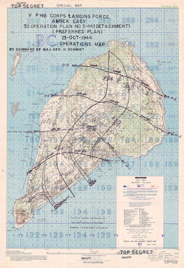 Battle Archives Map Iwo Jima Assault Plan Battle Map