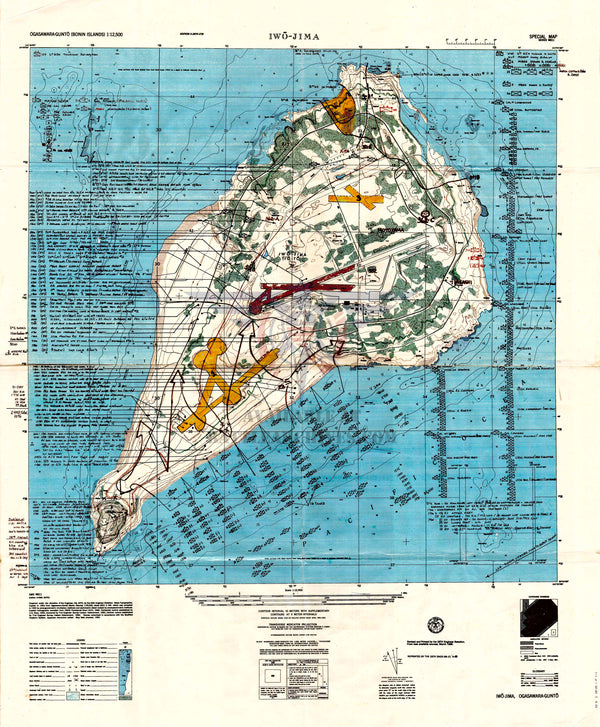 Battle Archives Map Iwo Jima Battle Map With Detailed Descriptions and Order of Battle