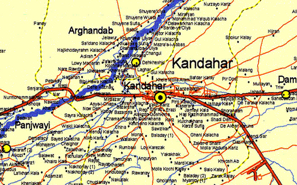 Battle Archives Map Kandahar Province, Afghanistan